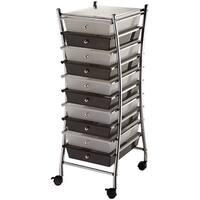 """X-Frame Storage Cart W/10 Drawers-13""""X38""""X15.5"""" Clear & Smoke"""