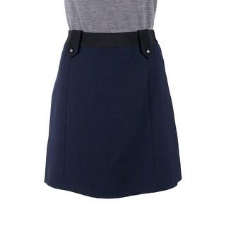 Prada Womens Blue Wool Button Lapel Ribbed Waistline Mini Skirt