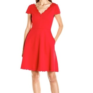 Betsey Johnson NEW Red Womens Size 2 Scalloped Fit & Flare Sheath Dress