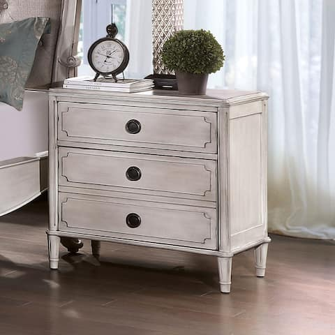 Furniture of America Ulby Traditional White Solid Wood Nightstand