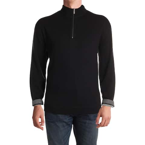 Nat Nast Mens Pullover Sweater Cotton Ribbed Knit - Black