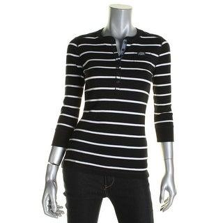 LRL Lauren Jeans Co. Womens Henley Top Striped Crawneck