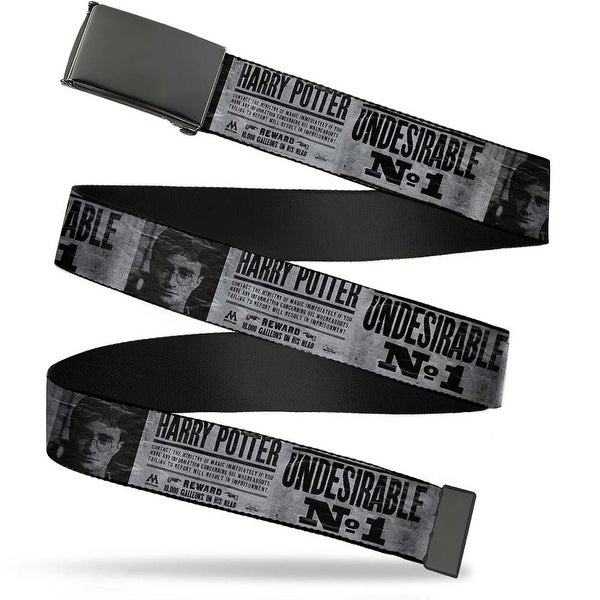 "Blank Black 1.25"" Buckle Harry Potter Undesirable No 1 White Black Webbing Web Belt 1.25"" Wide - M"