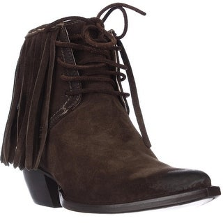 FRYE Sacha Fringe Chukka Lace Up Pointed Toe Ankle Boots - Fatigue