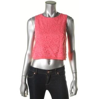 Aqua Womens Juniors Crop Top Sleeveless Lace Overlay