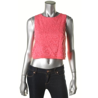 Aqua Womens Juniors Sleeveless Lace Overlay Crop Top - M
