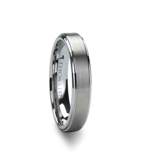 THORSTEN - OPTIMUS Raised Center with Brush Finish Tungsten Ring - 4mm