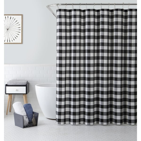 Shower Curtain With Buffalo Plaid Design. Opens flyout.