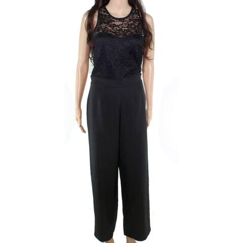 XOXO Womens Jumpsuit Solid Black Size Medium M Lace Keyhole Wide Leg