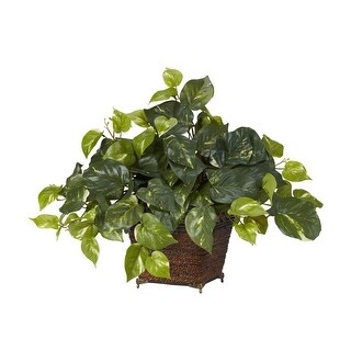 Nearly Natural Pothos with Coiled Rope Planter - Silk Plant Green