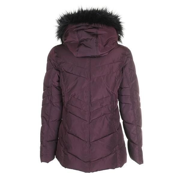 Madden Girl Juniors/' Faux-Fur-Trim Hooded Puffer Coat