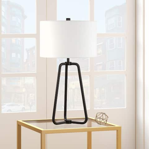 Bryan Table Lamp in Blackened Bronze Finish with Linen Shade