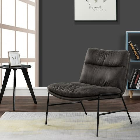 Furniture R Upholstered Faux Leather Accent Chair