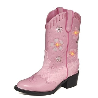 Roper Western Boots Girls Snake Lights Design Pink