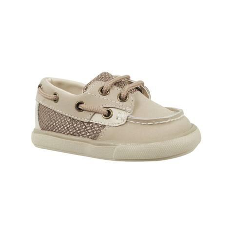 Baby Deer Little Boys Tan Nubuck Mesh Accent First Steps Deck Shoes