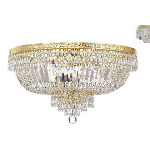 French Empire Crystal Semi Flush Basket Chandelier - Gold