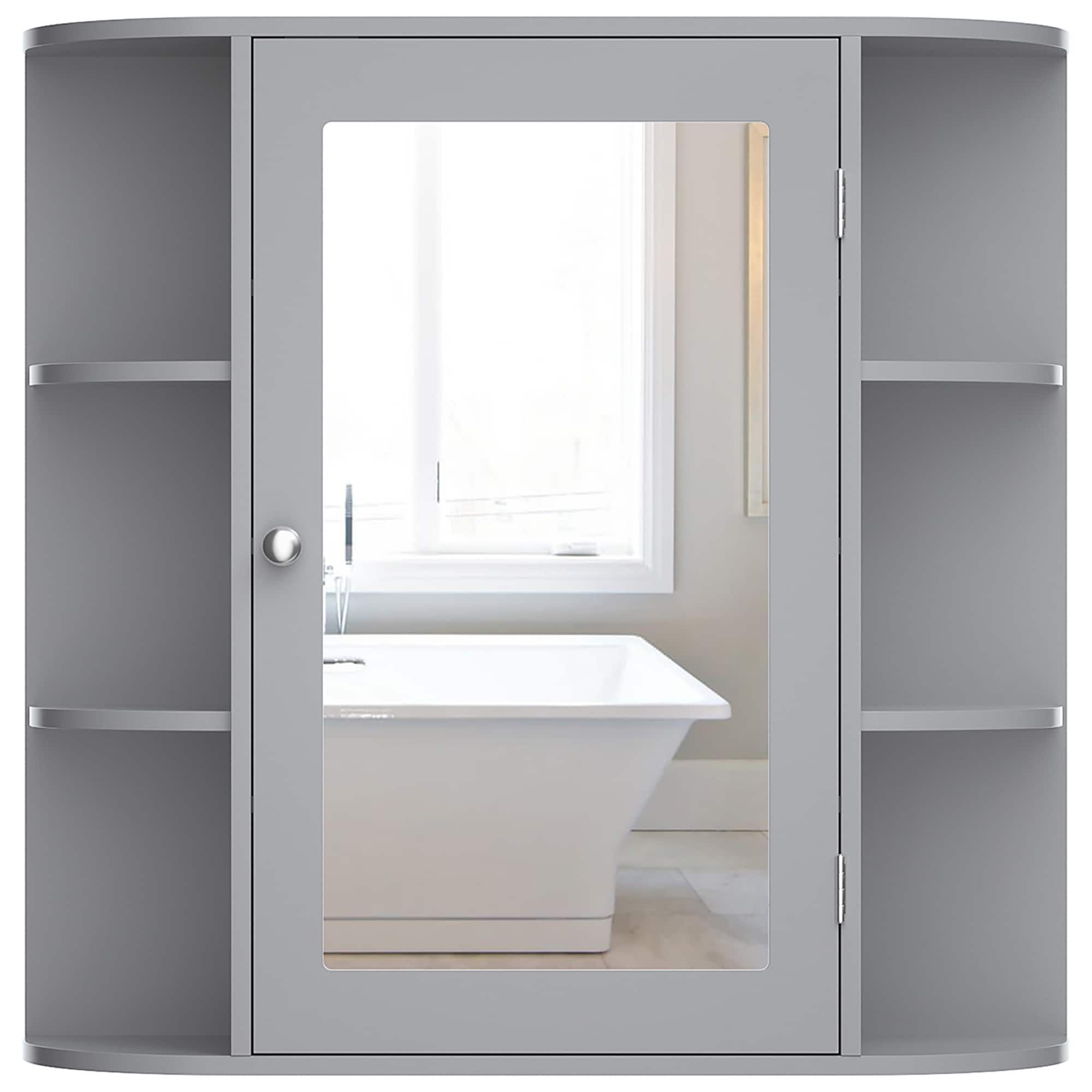 Costway Wall Mounted Medicine Cabinet W Mirrored Door And 6 Open 26 X 6 5 X 25 L X W X H Overstock 32076730