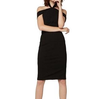 Fame and Partners NEW Black Women's Size 2 Halter Sheath Dress