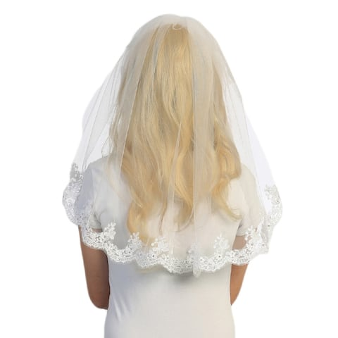 Tip Top Kids White Scalloped Lace Veil Girls - One Size