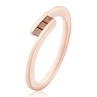 Fabulous 0.15 Carat Princess Cut 3 Cognac Diamond Diamond Trilogy Ring