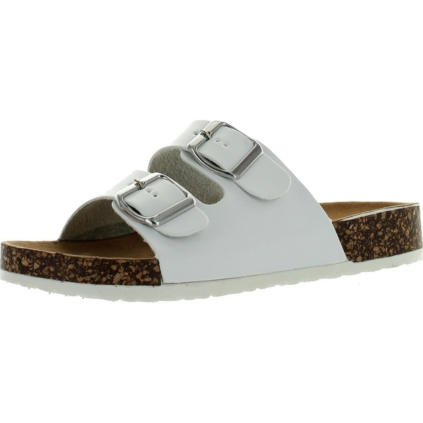 Wild Diva Lounge Womens Michiko-01 Footbed Sandals White