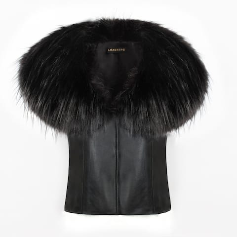 QZUnique Winter Faux Fur Vest Faux Leather Waistcoat Jacket Outerwear