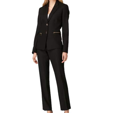 Tahari by ASL Womens Suits Black Size 10 Two-Button Herringbone Pant