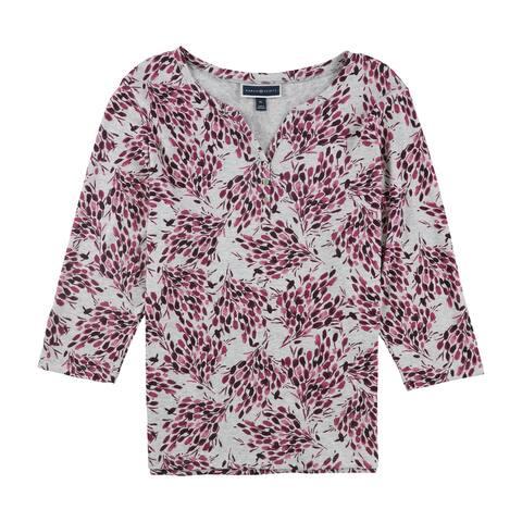 Karen Scott Womens Flower Basic T-Shirt, Multicoloured, X-Large