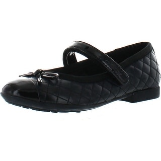 Geox Girls Plie Quilted Fashion Mary Jane Flats Shoes - Black Suede