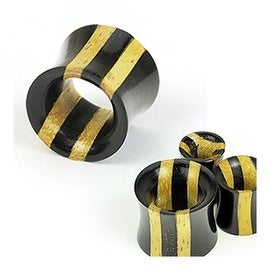 Double Stripe Two Tone Ebony Areng & Jackfruit Wood Saddle Plug (Sold Individually)