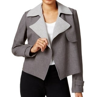 Tommy Hilfiger NEW Gray Women's Size 12 Basic Trench Open Front Jacket