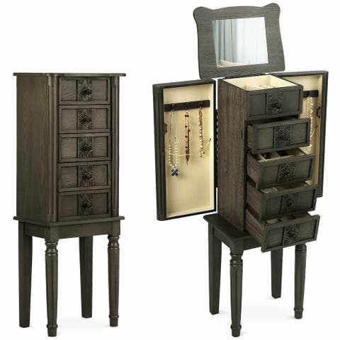 Standing Jewelry Cabinet Armoire with Makeup Mirror - Brown