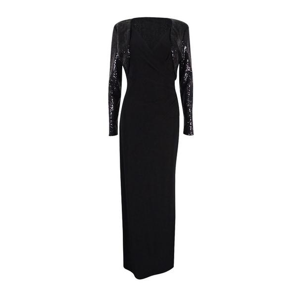 Shop Lauren Ralph Lauren Women\'s Surplice Jersey Gown & Sequin ...