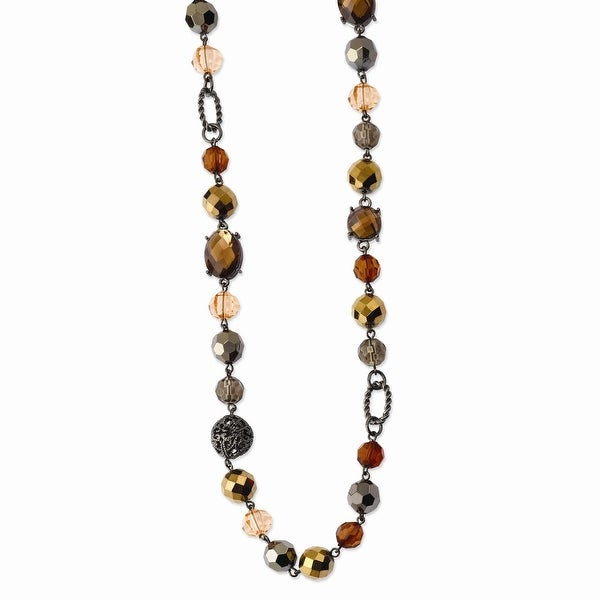 Black IP Multicolor Glass & Beads w/ Velour Cord 42in Necklace - 42in