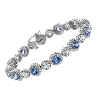 Tennis Bracelet with Blue & White Swarovski Zirconia in Sterling Silver