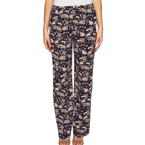 CeCe Navy Blue Womens Size XL Floral Pull-On Dress Pants Stretch