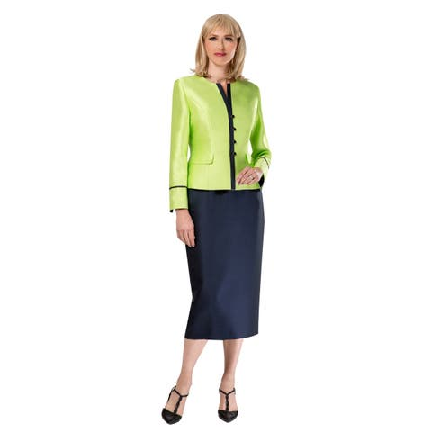 Giovanna Collection 2-pc Virtual Silk Jacket and Pencil Skirt Suit