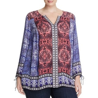 Lucky Brand Womens Plus Tunic Top Woven Printed