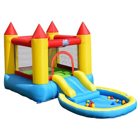 Kids Inflatable Bounce House Castle with Balls Pool & Bag - Multi - 144'' x 79'' x 75'' (L x W x H)