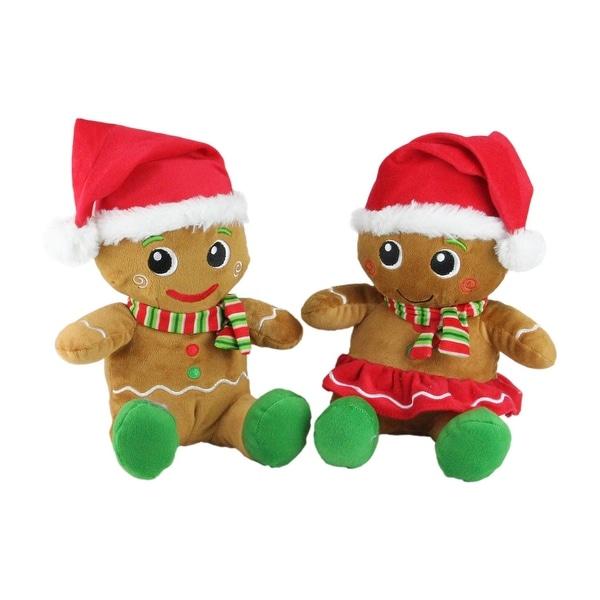 "Set of 2 Plush Sitting Gingerbread Boy and Girl Stuffed Christmas Figures 11"" - brown"