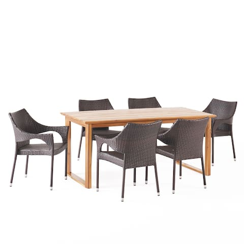 Aggie Outdoor Acacia Wood and Wicker Outdoor 7 Piece Dining Set by Christopher Knight Home