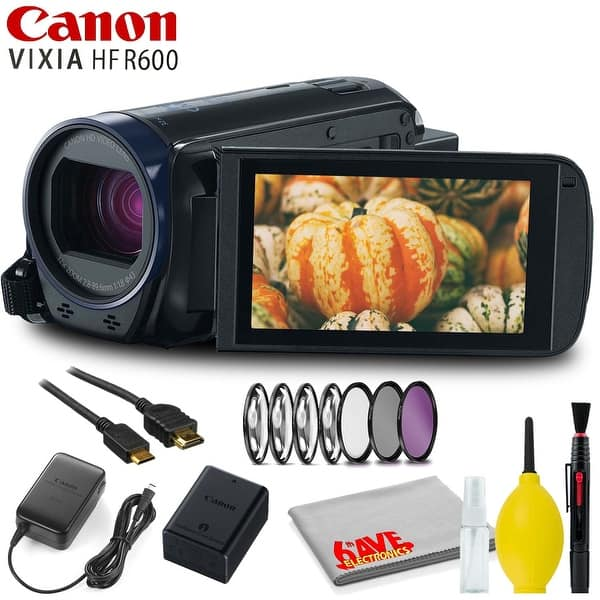 Shop Canon Vixia Hf R600 Full Hd Camcorder Black With Filter Kit And Cleaning Kit Overstock 29441237
