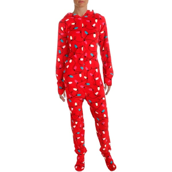 9fa67dd7f0 Shop Jenni Womens Footed Pajamas Holiday Print Hooded - L - Free ...