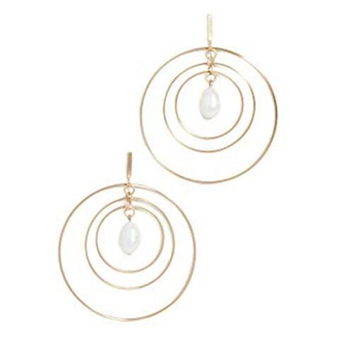 Tory Burch Womens Gold Multi Hoop Pearl Earrings