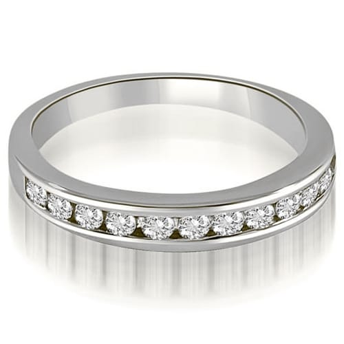 0.52 cttw. 14K White Gold Classic Channel Set Round Cut Diamond Wedding Ring