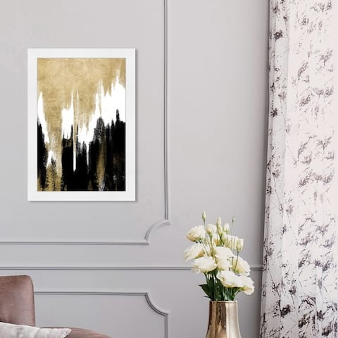 Oliver Gal 'Adore Adore' Abstract Wall Art Framed Print Paint - Gold, Black