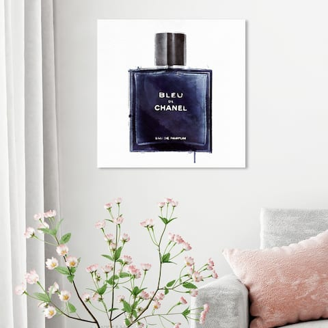 Oliver Gal 'Men Perfume Monsieur Bleu' Fashion and Glam Wall Art Canvas Print Perfumes - Blue, White