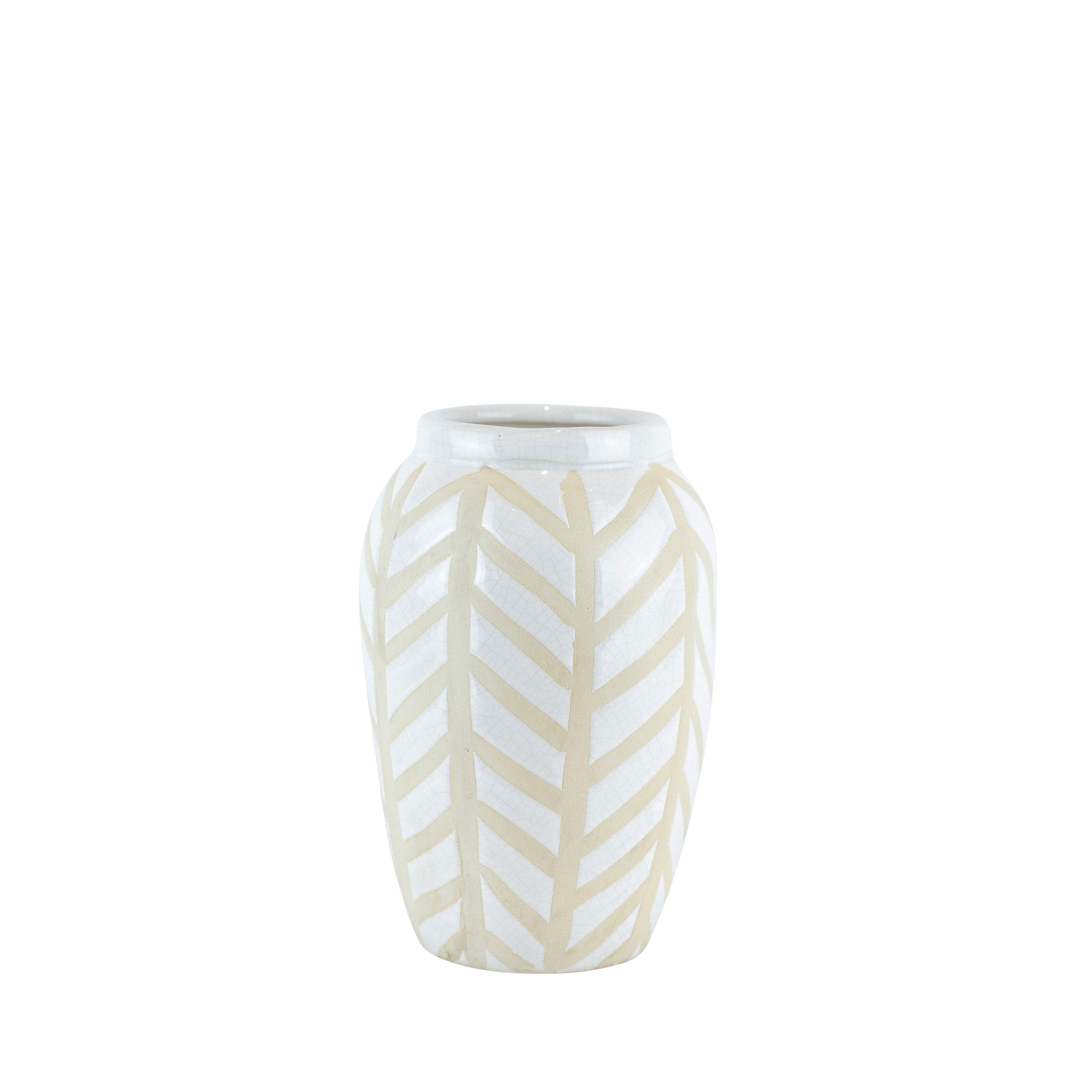 Decorative Ceramic Vase with Unique Pattern, White and Beige