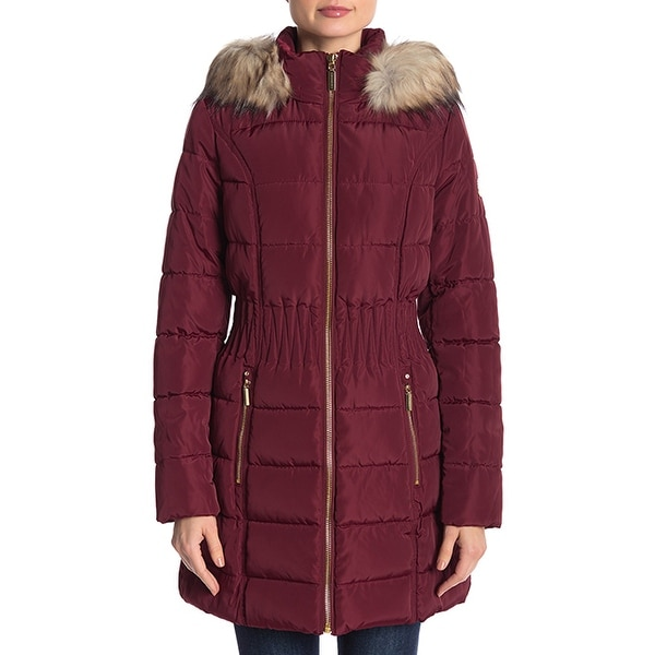 Laundry by Shelli Segal Cinch Puffer Down Coat Sangria Burgundy. Opens flyout.