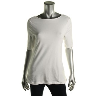 American Living Womens Short Sleeves Stretch Pullover Top